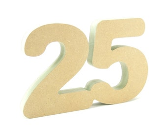 25th celebration wooden number free standing for DIY crafters birthday anniversary decoration