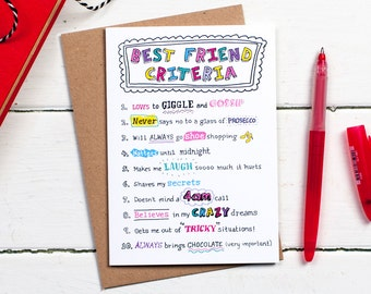 Best Friend birthday card, Card for Friend, Best Friend card, Friend card, BFF card, Best Friend ever, Friendship card, Card for Bestie