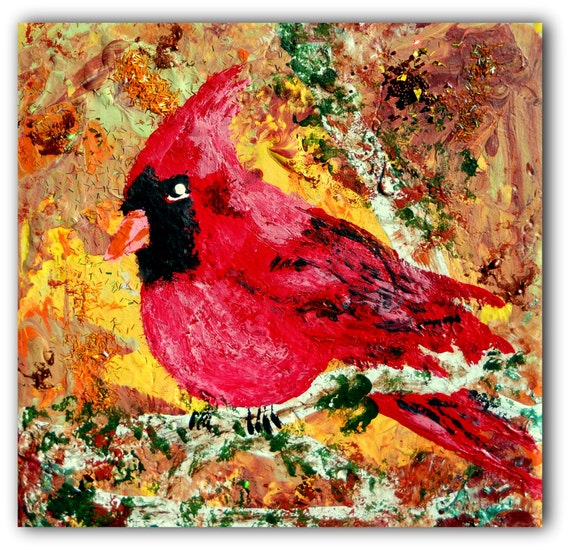 GULLIVER Acrylic painting - CARDINAL on Ceramic Tile Primitive Folk Art birds, nature wildlife glitter African American Artist Stacey Torres