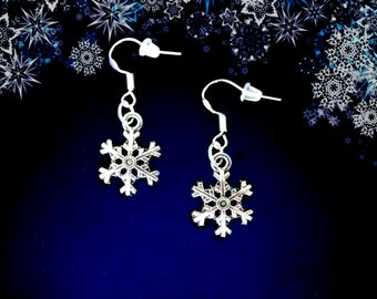 50% SALE Small Snowflake Earrings..Christmas Earrings..Snowflake Jewelry..Frozen Earrings..Winter Jewelry..925 Sterling Wire..FREE SHIPPING
