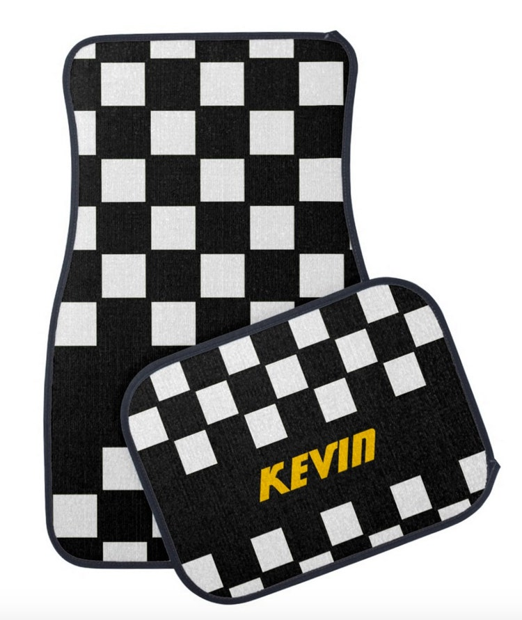 Checkered Mat: Custom Monogram Car Mats Checkered Race Flag Floor By