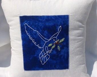 Peace Dove Pillow - Home Decor, Handmade, Embroidery