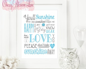 Wall Art Print - You are My Sunshine Blue - Free Shipping