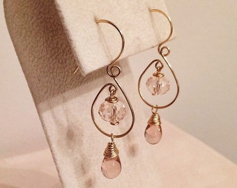 Pink Champagne Czech Glass Beads dangling  earrings handmade with gold wire