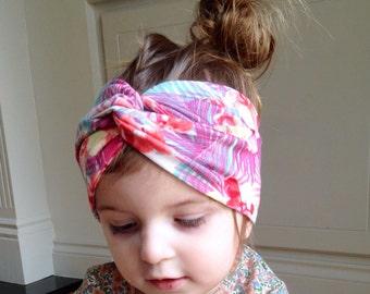 Twist turban headband head wrap / tropical print yoga headband / turban headband / toddler jersey head wrap / turban / hipster baby