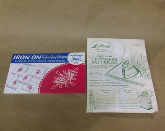 VINTAGE - LOT OF 2:  'Lee Wards' and 'Superior' Hot Iron Transfers for Needlework, Textile Painting and Other Art Crafts, Random Designs