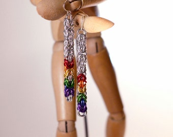LGBT Rainbow Pride Long Dangle Chainmaille Earrings