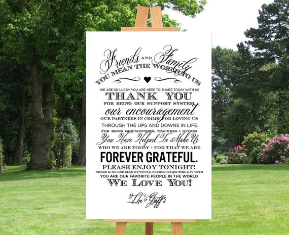 Wedding Thank You Sign Wedding Sign Reception Sign By