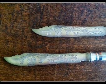 Stunning finnish antique engraved solid silver fruit knives, a pair