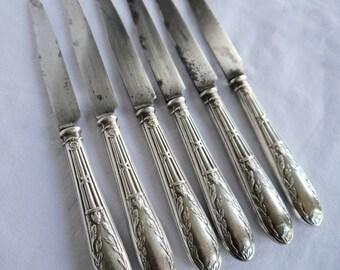 Set of 6 Vintage knives / 6 Silver metal  handled knives/