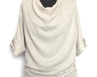 Ladies Linen Wave Top with Short Deep Sleeves Waist-length