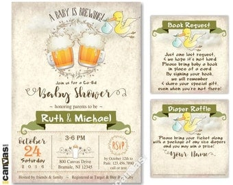 Baby is Brewing Invitation, Coed Baby Shower Invitations, Couples Babyshower Party, Dads Shower, Beer Mugs, BaByQ, BBQ, Rustic, Stork BS261