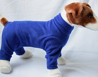 Dog or Cat Long John Style Pajamas Fleece Clothes Sweater Outfit Leash hole option Solid Royal Blue