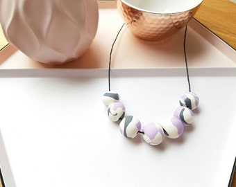 Handmade polymer clay beaded necklace- marbled white, grey and purple