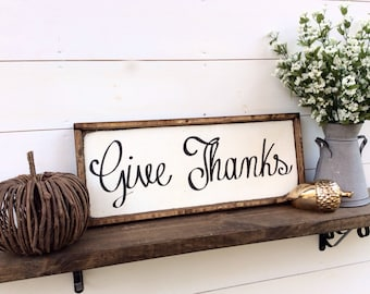 Give Thanks Wood Sign Fall Sign Autumn Sign Thanksgiving Sign