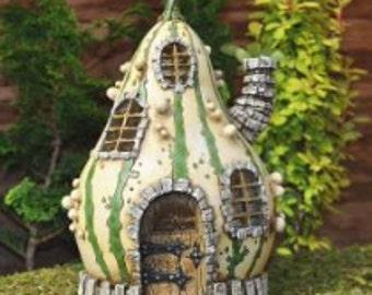 Micro Gourd House-  Terrarium Fairy Troll or Gnome Home Cottage  - Woodland Miniature Fairy Garden Dollhouse Diorama accessories