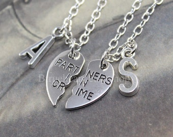 Silver PARTNERS IN CRIME necklace,friendship necklace set, best friends, broken heart set, sisters gift jwelry,initial necklace