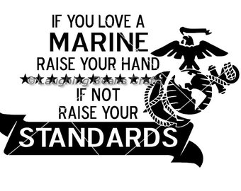 "If you love a marine- 6"" Vinyl Car Decal"