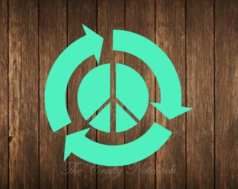Ecopeace Recycle Peace Sign Decal Vinyl Sticker • Car Truck SUV • Yeti • Tumbler • Guitar • Choose Your Color/Size• Large Orders Welcome