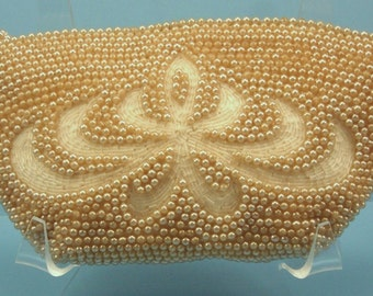 Vintage Beaded Pearl Clutch Purse Hand Bag Zipper closure Champagne 1950's