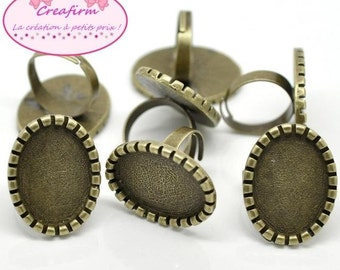 10 Bronze for 25x18mm Cabochon rings