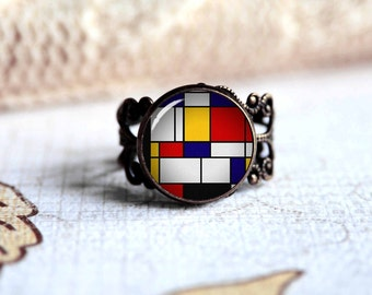 Mondrian adjustable ring, antique silver or antique bronze. Choose your finish