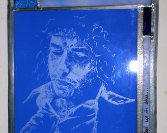 Hand Engraved Stained Glass Panel Bob Dylan 'Tangled up in blue'
