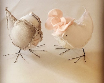Two little love birds - Bride & Groom cake topper