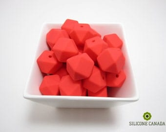 Hexagon Silicone Beads (Coral Red) Teething Nursing Chewing Necklace. Wholesale Discount Bulk Available. SiliconeCanada