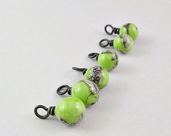 ON SALE Yellow Green and Silvered Ivory Lampwork Drops Hand Forged Black Iron SRA