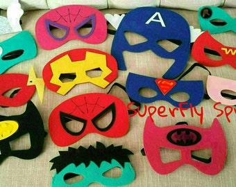 Ten (10) Felt Superhero Felt Masks -  Ironman,  Spiderman, Captain America, MORE! Superhero Birthday Party Favors