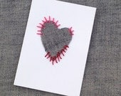 Handmade Valentine Card Valentine's Day Card For Him For Her Love Heart design motif in Upcycled denim with bead or thread sewn details
