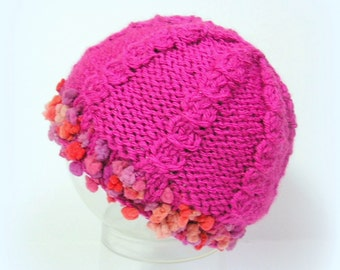 Pink handknitted baby hat, size 1 to 2 months