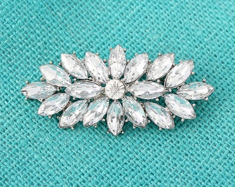 Bridal Sash Brooch Diamond Shape Wedding Brooches Bridesmaid Dress Cake Decor Diamante Rhinestone Silver Jewelry Bridal Broaches