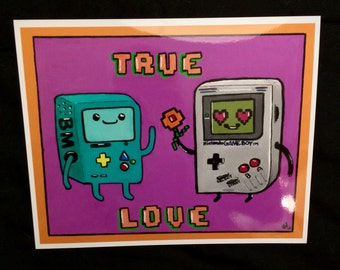 8-Bit Love BMO and Gameboy Adventure Time Print