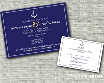 Nautical Wedding Invitation - Print-Ready - with Decorative Border and Anchor! 2-piece set includes invitation and RSVP card!