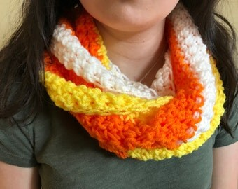 Candy Corn Infinity Scarf - Handmade Crochet - Halloween Colors Yellow Orange White - Item S1