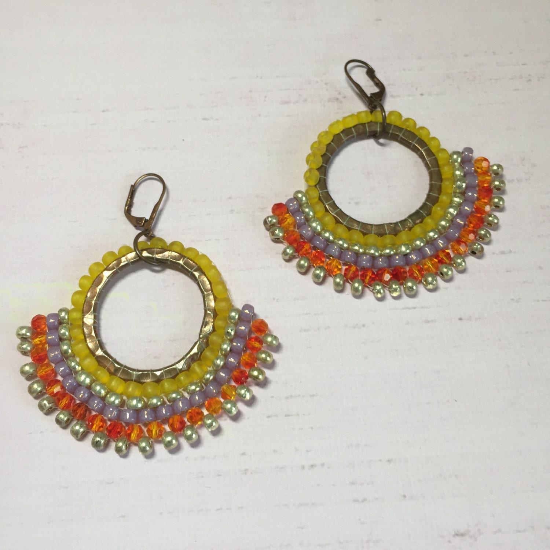 brass beaded hoop earrings seed bead disc earrings