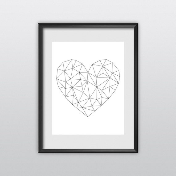 Inspirational Print Love Heart Geometric Inspirational Art Home Decor Poster Polygon Art Wall Decor Winter Gift New Year Resolution (T54)
