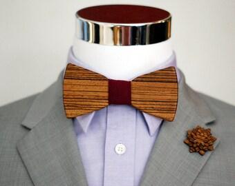 Zebra Wood Bowtie Combo Kit - Suits - Wood Bowtie - Men's Ties - Interchangeable Neck Strap