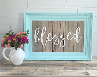 FINISHED Reclaimed Wood LARGE blessed Sign