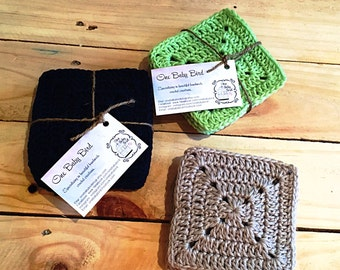 Solid Granny Square Crochet Coasters - Set of 6
