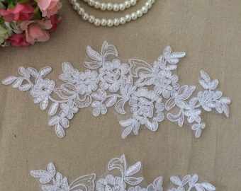 White Lace Appliques Venice Lace Flower Collars Corsage Costome Decor Lace Patches 1 pair YL193