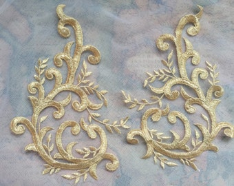 Gold Lace Appliques Embroidered Flowers Patches For Wedding Supplies Bridal Hair Flower Headpiece 1 Pair YL348