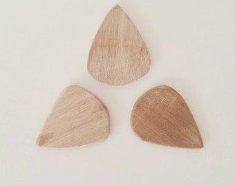 Handmade wooden guitar picks - set of 3