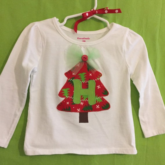 Christmas tree  initial appliqué top for Baby & toddler girls