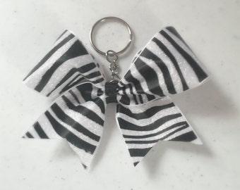 Zebra glitter cheer bow Keychain