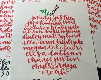 Teacher Gift - Class Names Calligraphy Apple