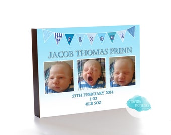Personalised 'Welcome Baby' Wooden Photo Block