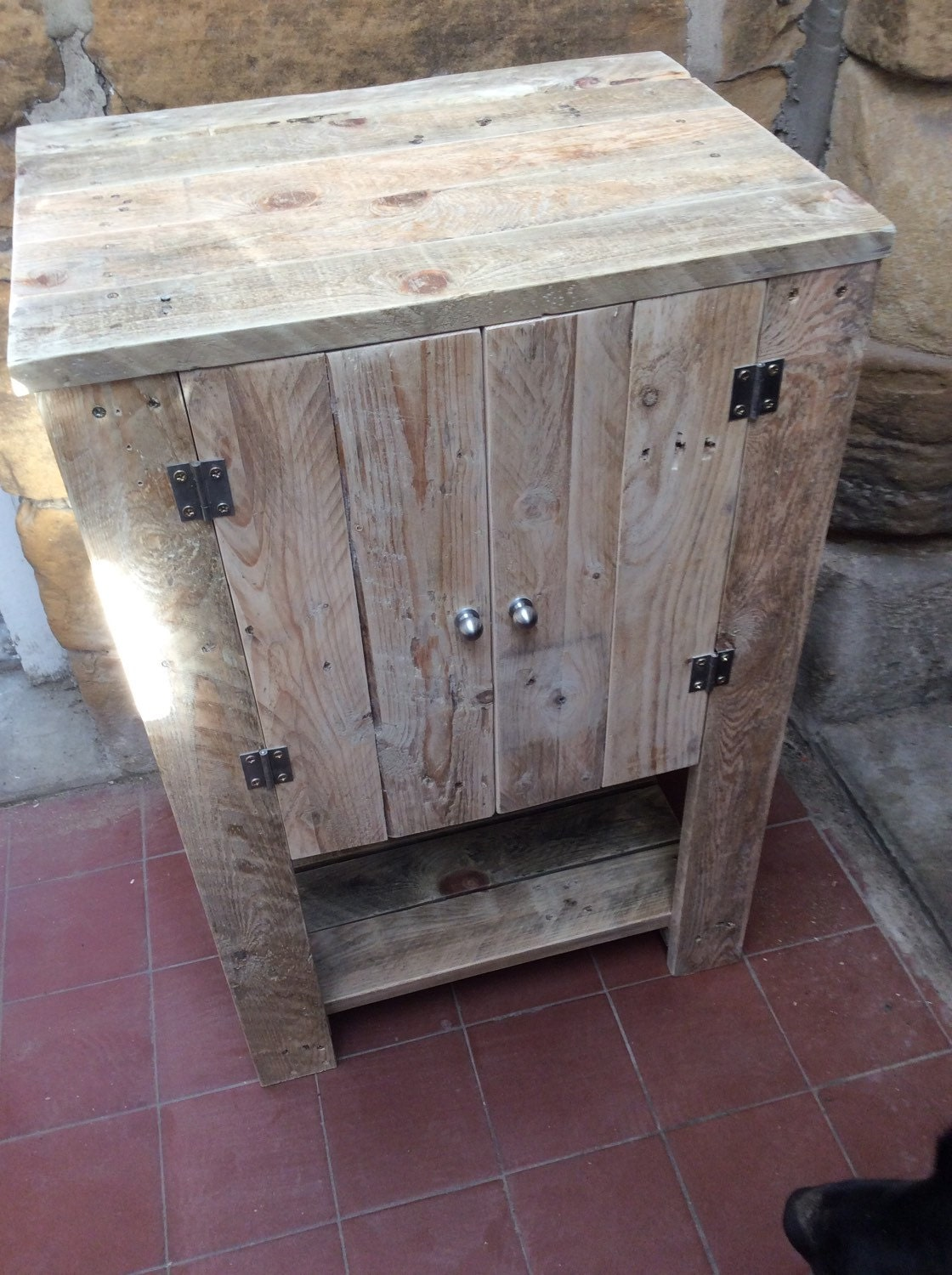 Freestanding Cupboard Vanity Unit Made From Reclaimed Pallet